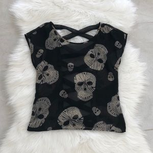 Tops - Sheer Tribal Skull Blouse w/ Open Back, size S